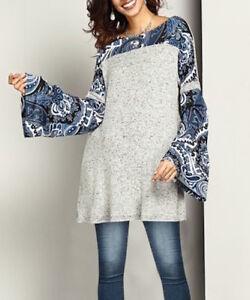 Reborn-Women-039-s-Gray-Blue-Paisley-Bell-Sleeve-Tunic-Top-Dress-Size-M-L-NWT