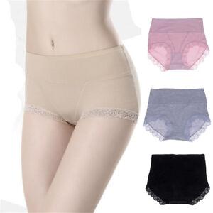 Plus-Size-Women-High-Waist-Cotton-Lace-Slimming-Soft-Briefs-Underwear-Panties