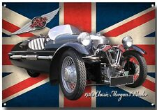 LGE A3 SIZE MORGAN 3 WHEELER ENAMELLED METAL SIGN,CLASSIC MORGAN CARS,1930'S.