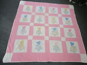 Vintage-Sunbonnet-Sue-Quilt-w-Embroidery-CUTTER-54-034-w-x-58-034-l-Hand-quilted