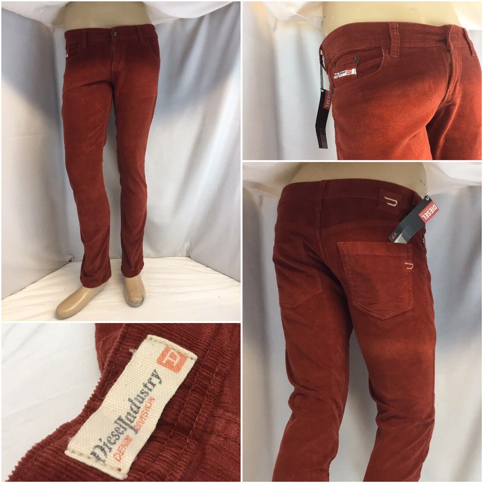 Diesel Industries Pants Sz 14 orange Cotton Corduroy Straight NWT YGI K8-276