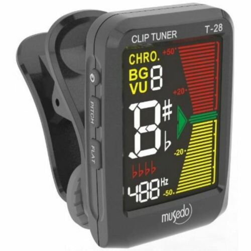 New Musedo MUS-T-28BK Color LCD Clip-on Chromatic Instrument Tuner Black