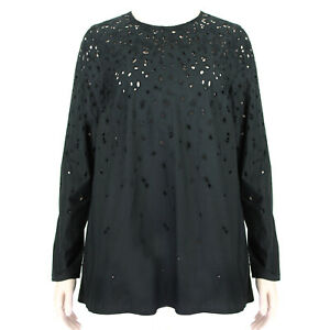 Proenza-Schouler-Black-Broderie-Anglaise-Buttoned-Back-Swing-Top-US4-UK8