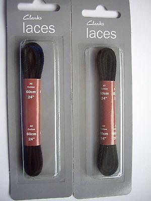 Clarks Negro Algodón redondo del cable Delgado Zapato Brogue Cordones Talla 60cm 24 BNIP 2 Pares