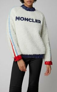 $820 Moncler Grenoble AUTH Logo Faux Shearling Sweater S Glossy Shell Trimmed