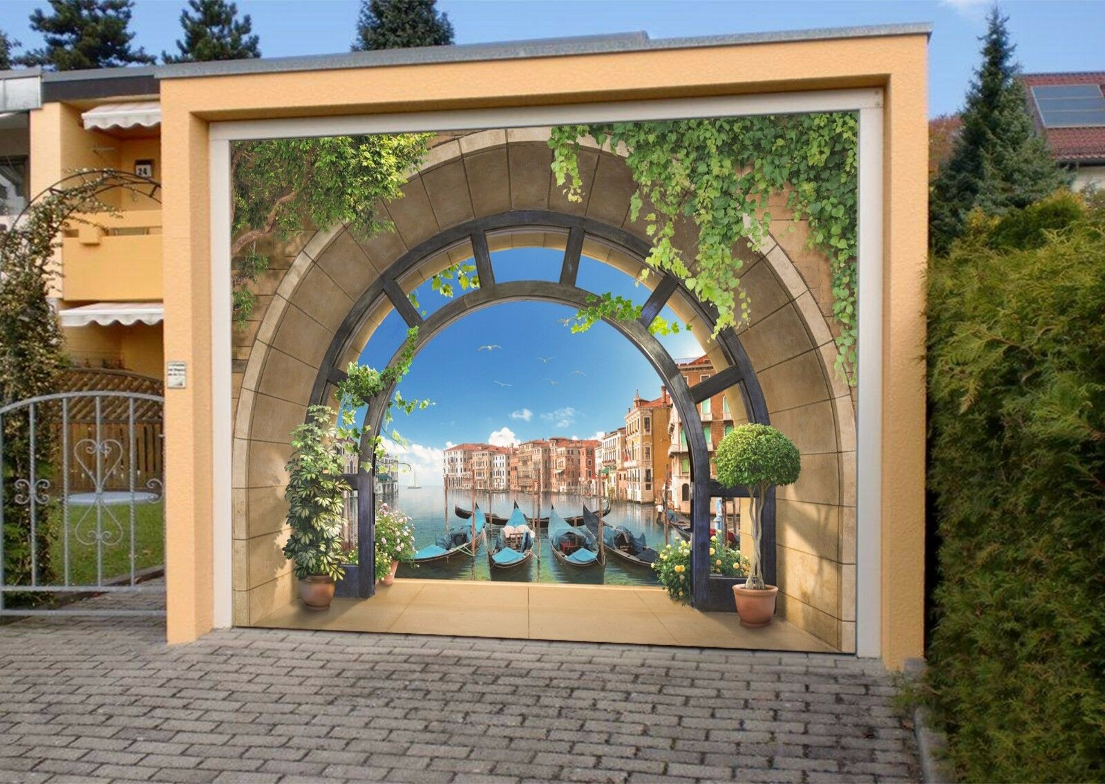 3D Balcony Ship 9 Garage Door Murals Wall Print Decal Wall AJ WALLPAPER UK Carly