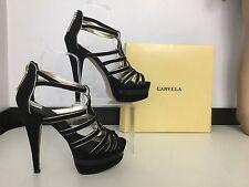 Carvela Women's High Heels Shoes Size 38 5 Black Gold Patent leather Velvet Vgc