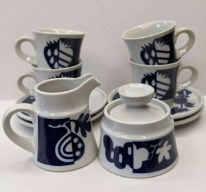 Noritake-Primastone-Fruitful-Sugar-Creamer-4-Cups-and-4-Saucers-Stoneware-Japan
