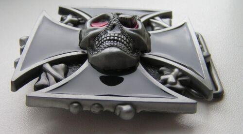 Skull with Iron Cross and Bones Background Belt Buckle Motorcycle Biker New.