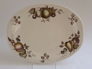 Staffordshire-Old-Granite-Orchard-Oval-Platter-Johnson-Brothers-England-Tan