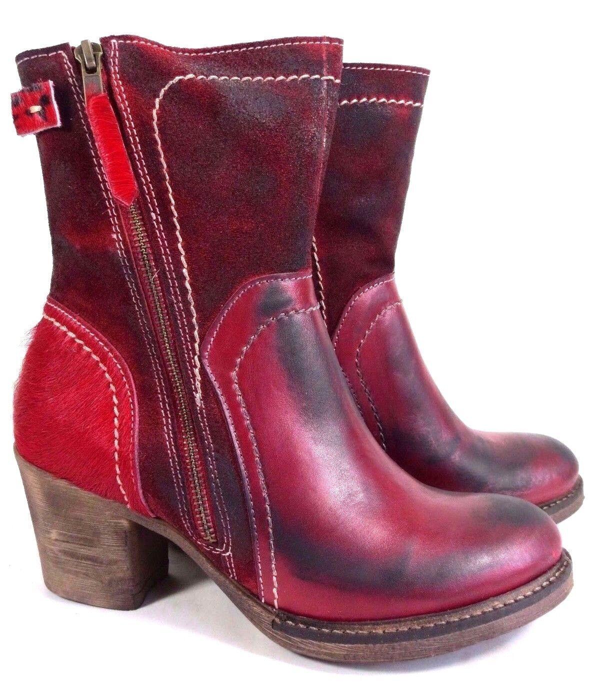 IQ originales Chaussures en Cuir Bottines rouge avec fourrure Antique Look Neuf 159,95