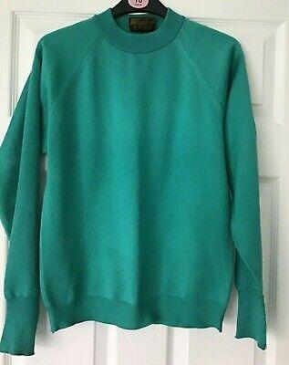 Cooperativa Vintage Womans Maglione Verde, John Tayne Taglia 12 1970s Retrò- Irrestringibile