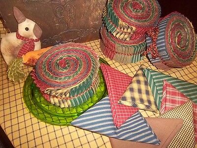 "40 - 2.5"" Strips Jelly Roll! Dunroven House Homespuns; Ticking, Plaid & Check"
