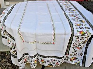 Vintage-Tablecloth-Pennsylvania-Dutch-Print-Cotton-Linen-56x71
