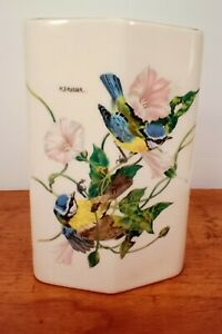 Vintage-Vase-Hand-Painted-Japanese-Flowers-and-Birds-Trimmed-in-Gold-Signed
