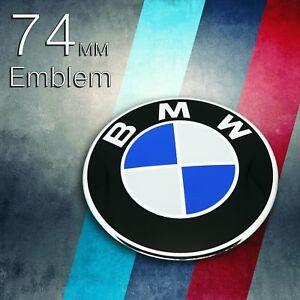 Emblem-fuer-BMW-74mm-Motorhaube-Kofferraum-Logo-Auto-Zeichen-Heckklappe-Abdeckun