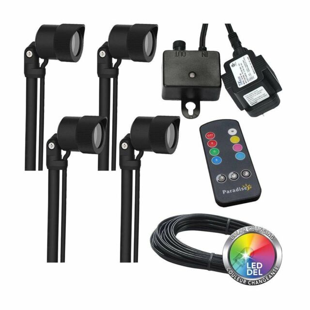 Paradise Led Low Voltage Multi Color Landscape Lighting Kit 4 Pack
