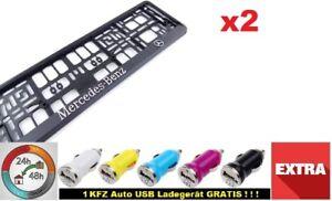 I-Mercedes-Benz-I-2x-Kennzeichenhalter-3D-Chrom-Neu-Kennzeichenhalterung-KFZ