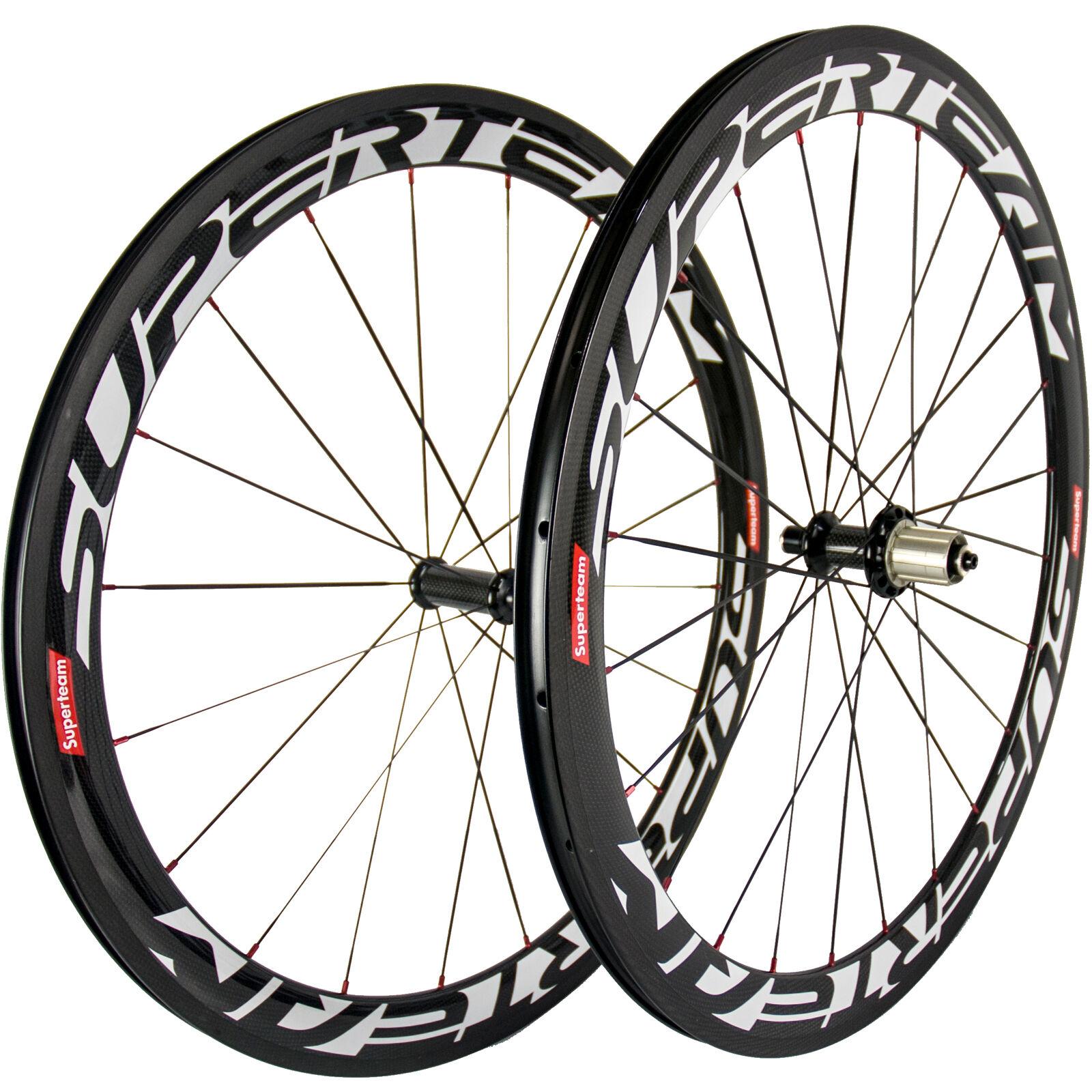 700C Bicycle Wheelset Superteam 50mm Carbon Road Bike Wheels R36 Hub Red Nipples