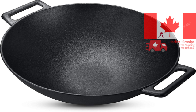 Cast Iron Shallow Concave Wok Black 12 Inch Wide handles - by Utopia Kitchen