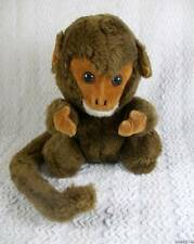 Vintage R. Dakin Plush Brown Monkey Chimpanzee  Velveteen Face/Hands Wired Tail