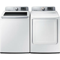Samsung Top Load 4.5 Washer & 7.4 Gas Dryer Set Wa45h7000aw Dv45h7000gw