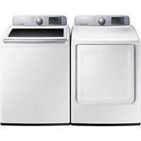 Samsung Top Load 4.5 Washer & 7.4 Gas Dryer Set Wa45h7000aw Dv45h7000gw