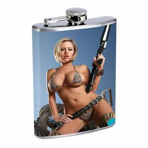 Bali Pin Up Girls D8 Flask 8oz Stainless Steel Hip Drinking Whiskey
