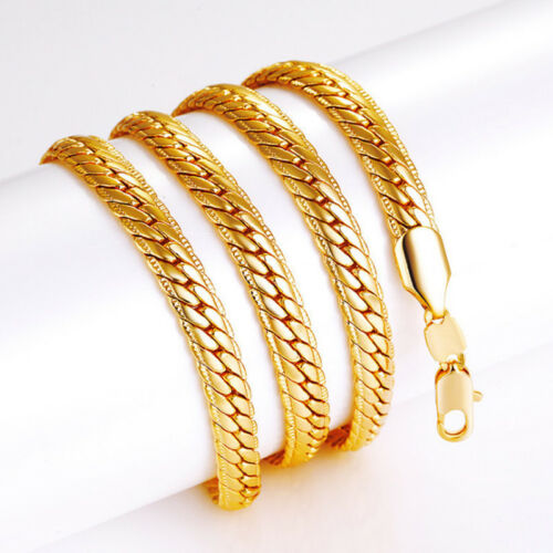 Women Men Golden Plated Cool Hip Hop Choker Necklace Simple Link Chain Necklaces