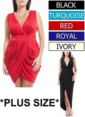 MANY COLORS Draped Tulip V-Neck Cocktail Short / Long Plus Dress Sizes 1X 2X 3X