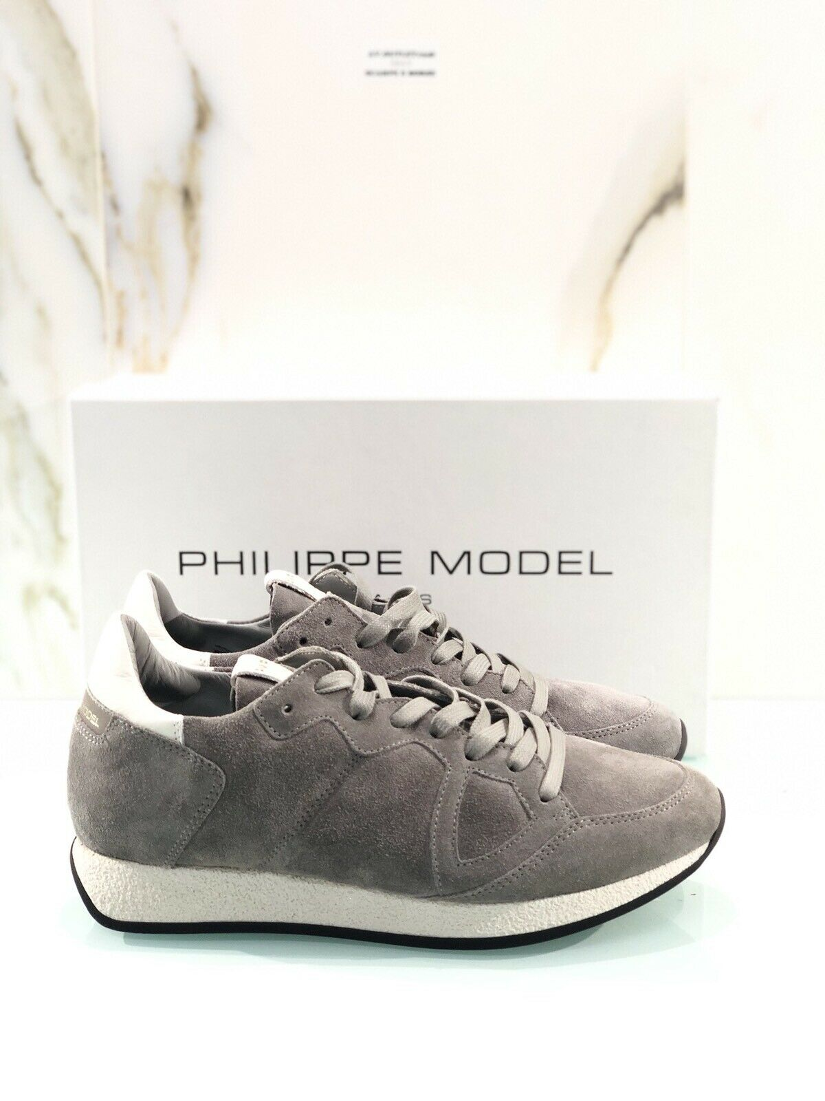Philippe Model Monaco L U Daim Sneaker Suede Grey Number 40 Luxury Sneaker