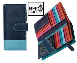 Prime Hide Aatra Women/'s RFID SAFE Large Purple Multi Colour Leather Purse