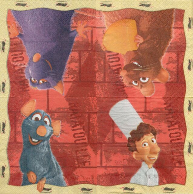 2 Serviettes en papier Ratatouille Dessin animé Decoupage Paper Napkins Disney