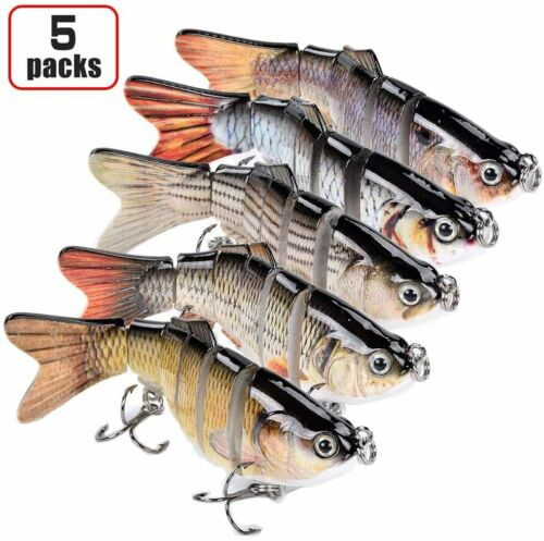 5 Pack Bass Fishing Lure Lifelike Multi Jointed Swimbait Slow Sinking Glidebait