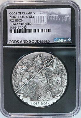 2016 Cook Islands POSEIDON $2 2oz Silver Gods of Olympus HR Antiqued NGC GEM BU