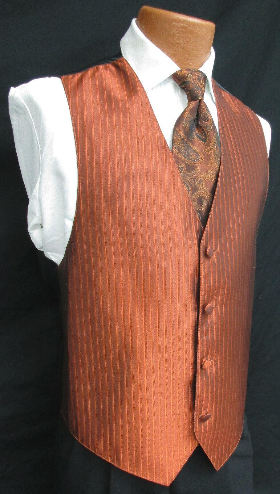 Men's Burnt Orange Jean Yves Tuxedo Vest & Choice of Tie Wedding Cruise Prom