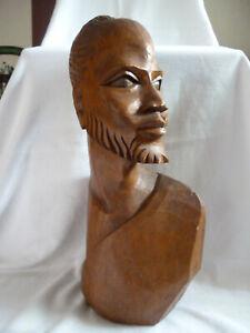 lebensgrose-Buste-eines-Afrikaners-Holz-geschnitzt-Vintage