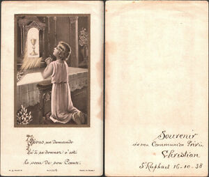HOLY-CARD-SANTINO-IMMAGINE-SACRA-IMAGE-PIEUSE-PREMIERE-COMMUNION-1938
