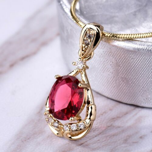 Fashion Bridal Wedding Oval Cut Red Cubic Zirconia Silver Gold Pendant Necklace