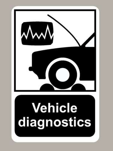 2 X VEHICLE DIAGNOSTICS STICKERS SIGNS
