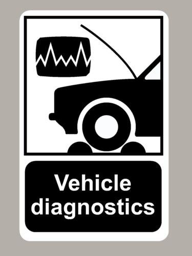 2 X VEHICLE DIAGNOSTICS STICKERS SIGNS