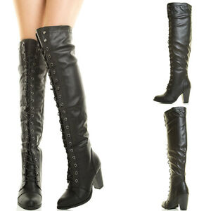 aa0e7d1c6e8c Black Lace Up Chunky Thick Heel Over Knee Thigh High Military Combat ...