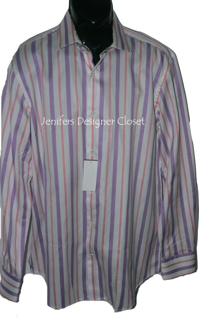 NWT ROBERT GRAHAM Größe-17 dress shirt with sheen broken stripe contrast cuffs