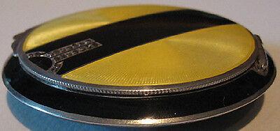 K & A VINTAGE ART DECO STERLING SILVER YELLOW & BLACK ENAMEL MARCASITE COMPACT