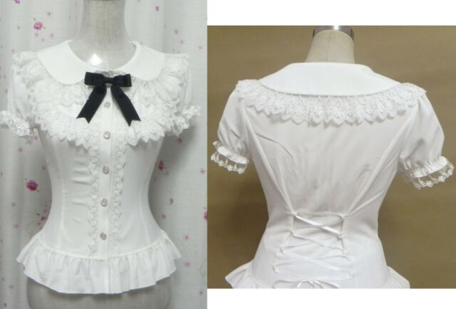 Trendy Sweet Lolita Princess Punk Cute Kawaii Slim Shirt Blouse White S~XL