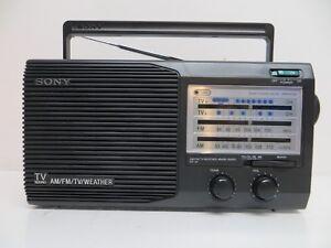 sony icf 34 portable am fm tv weather 4 band radio ebay rh ebay com Instruction Manual Sony Wireless Headphones Manual