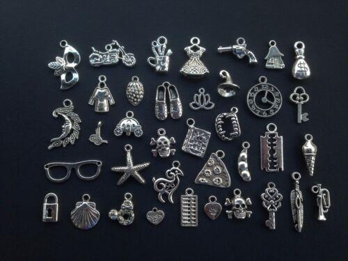 50pcs Mixed Silver Loose Charms Pendants Jewelry Making Beads Wholesale Bulk Lot