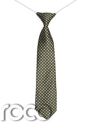 Puntuale Ragazzi Oliva Cravatta, Stampato Fascette, Bambino Verde Accessori, Cravatta Valore Eccezionale
