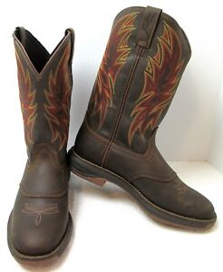 8a16636337b Details about Men's Cabela's Big Casino Round-Toe Tobacco / Hickory Leather  Cowboy Boots