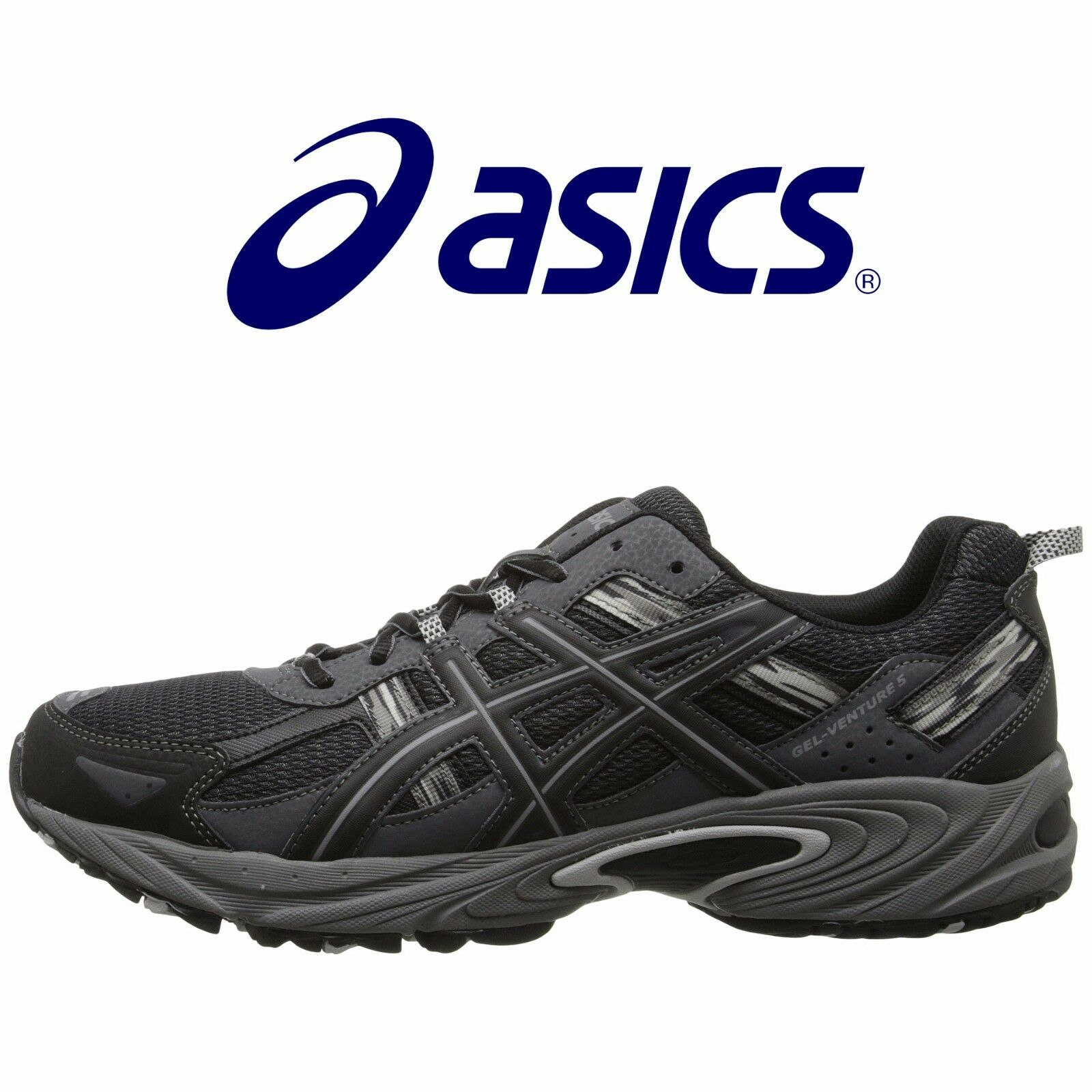 Mens ASICS ASICS ASICS GEL Venture 5 Running shoes Black Onyx Charcoal All Sizes NIB 1aade0